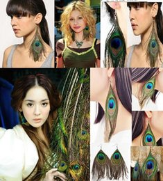 Wholesale Luxury Feather Earrings - Hot Retro national style luxury peacock feather earrings color wild earrings fashion trend 24 pairs wholesale