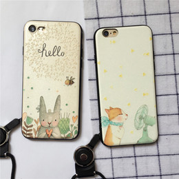 Wholesale Cute Animal Iphone Covers - For Iphone 7 7plus 6 6s 6 6s Plus Mobile Phone Case Cute Animal Phone Shell Relief Soft Cover TPU Lanyard Phone Sets