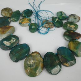 Wholesale Natural Gemstone Agate - 19pcs 1Strand Green Druzy Agate Gemstone Bead, Natural Slice Coin Jewelry Gemstone Drusy Druzy Agate Necklace Pendant Necklaces Connector