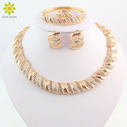 Wholesale bridal sets wedding rings - Vintage African Crystal Jewelry Sets For Women Wedding Bridal Accessories Gold Plated Necklace Bracelet Earrings Ring Set