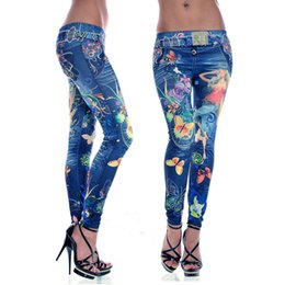 Wholesale Tight Fitting Leggings - 2015 Wholesale Hot Selling Tight Pants Butterfly Print Fitness Leggings One Free Size Fits Close-fitting Imitated Denim Jean Leggings WI30