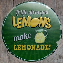 Wholesale Poster Making - If life gives you Lemons, make Lemonade Round Retro Embossed Tin Sign Poster Wall Bar Restaurant Garage Pub Coffee Home Decor Christmas Gift