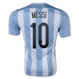 Wholesale New Jersey Drop Ship - Drop Shipping Accepted,Customized Thai Quality 2015 -2016 Argentina Home jersey 10 MESSI Football Soccer Tops Jersey,2015 New Soccer Shirts