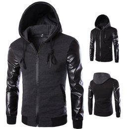 Wholesale Men Leather Hooded Jacket Coat - 2016 Brand Multi-Pockets PU Leather Sleeve hooded Patchwork Fashion Mens Jackets Slim Fit Outerwear 2 Colors Coat Clothes M-XXL J07