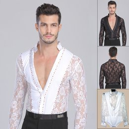 Wholesale White Latin Ballroom Dresses - Men Boy Performance Latin Dress Tops Diamond Lace Long Sleeve Dance Dress Ballroom Dance Competition Dresses Latin Tops Shirt DQ6004