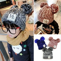 Wholesale Two Cute Boys - 2016 Spring Winter Kids Crochet Earflaps Caps Cute Two Balls Cotton Cute Kids Hats Children Boys Girls Hat K6365