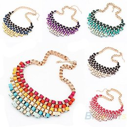 Wholesale Bubble Bib Fashion - 2013 New Fashion Hot Women Alloy Bubble Bib Party Statement Colorful Weave Ribbon Necklace Collar 01CG