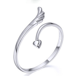 Wholesale Wholesale Wood Wings - Love Heart Rings Lovers Couples rings Finger Rings Bague Adjustable Size 925 Stering Silver Ring Fashion Exquisite Angel Wing Ring Jewellry