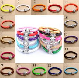 Wholesale Woven Bracelet Silicone - 2015 New 16 colors MIC Shambhala Weave Leather Czech Crystal Rhinestone Cuff Clay Magnetic Clasp Bracelets Bangle