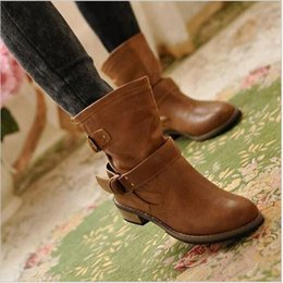 Wholesale New Fashion Casual Ladies Shoes - new woman ladies shoes zapatos mujer chaussure ankle boots bota Riding Boots Casual Ladies Martin Boots Q213