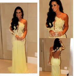 Wholesale Celebrity Oscar Gowns - 2015 Oscar Yellow Mermaid Lace Long Sleeve Prom Dresses Sheer Chiffon Evening Gowns Long Celebrity Red Carpet Dresses One Shoulder Neckline