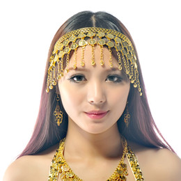 Wholesale East Dance - BELLY DANCE BOLLYWOOD COSTUME TRIBAL JEWELRY GOLD SILVER HEADBAND HEADPIECE PROP Belly Dance Cions Headdress free shipping