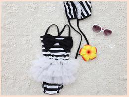 Wholesale Suit One Piece Kid Swimming - 2015 Summer Style Baby Swimsuit Bikini Infant Swim Bathing Suit One-Piece Swimwear Straps Striped For Girls Kids ruffled swimwear swimsuit