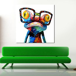 Wholesale Frog Oil - picture paint on canvas diy digital oil painting paint by numbers drawing coloring by number glasses frog 50*50cm