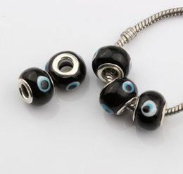 Wholesale 5mm Beads Black Bracelet - Hot ! 200pcs Evil Eye Murano Black Color Colored Glaze 5mm Big Hole Glass Beads Fit Charm Bracelet DIY Jewelry 14mm