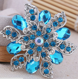 Wholesale Celtic Brooch Bouquet - 2015 6.0*6.0 cm Sparkly Clear Rhinestone Crystal Diamante Flower Pins Wedding Cake Bouquet Pin Brooch 015