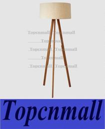 Wholesale Floor Shade - Wholesale-Modern Nordic style Triangle Wooden Floor Lamp Wood Color Fabric Shade Floor Light 1 E27 Light Bedroom Standard Light LYH59