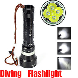 Wholesale Scuba Dive Flashlight - High Quality Underwater 100m 6000LM 4x Cree XML XM-L L2 LED 3-mode Waterproof Scuba Diver Diving Flashlight Lantern By 2x18650 battery