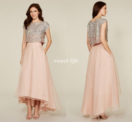 Wholesale Two Piece Prom Dress Champagne Blush - 2015 Two Pieces Prom Dresses Shiny Beading Sexy Cheap A-Line Short Sleeves Blush Hi-Lo Beach Bridesmaid Dresses Party Evening Dress