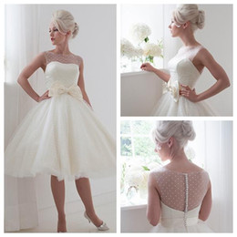 Wholesale Tea Lenght Silver Dress - Daisy 2015 Sexy A Line Wedding Dresses Tull White Sheer Beteau Cap Sleeves Satin Bow Covered Button Tea Lenght House Of Mooshki Bridal Gowns
