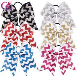"Wholesale chevron hair - 12 Pcs  Lot 7 ""Glitter Printed Ribbon Chevron Cheer Bow With Elastic For Kids Girls Teens Striped Hairband Hair Accessories"