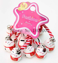 Wholesale Lucky Cats For Sale - 60 pcs Maneki Neko Means Good fortune Lucky Cat Pendant Cell Phone Charm Straps with Bell For Sale
