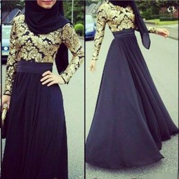 Wholesale Greek Nude - 2016 Muslim Evening Dress With Hijab Formal Prom Party Dresses Long Sleeves Gold Lace 2015 Arabic Dubai Greek Black Celebrity Gowns Cheap