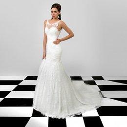 Wholesale Chapel Mermaid Sleeveless - Chapel Train Scoop Neck Sleeveless Elegant Bride Appliques Lace Backless Mermaid Wedding Dresses 2016 New Arrival Plus Size