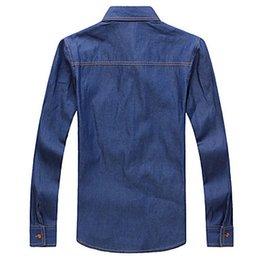 Wholesale Denim Shirt Mens - Mens Slim Cotton Denim Shirts Blue and Leisure Shirts with A Poket
