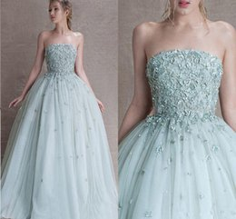 Wholesale Sexy Dresses Puffy Shoulder - 2017 Paolo Sebastian Light Blue A Line Prom Dresses 3D Appliques and Bead Off Shoulder Prom Gowns Puffy Floor Length Evening Dress