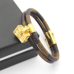 Wholesale Double Man Leather Bracelets - 316L Titanium steel bangle brand name for man bangle with double line genuine leather and enamel handbag for women and man bracelet wedding