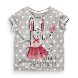 Wholesale Bunny Clothing - Baby Girl Summer T-shirts Cartoon Bunny Polka Dot Short Sleeve T-shirts Children Clothing 1-6Y 50725
