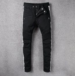 Wholesale European Runway - 2018 black men jeans new arrival fashion Biker Slim Skinny Jeans Runway Fit Denim Cotton Jeans Pants Big size long trousers 28-42
