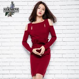Wholesale Unique Design Clothes - Wholesale- ALKMENE Red Wine Deaign Women Sweater Dress Unique Waist Design Pullover Fashion Leak Shoulder Sweater Long Soft Women Clothing