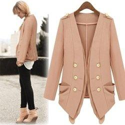 Wholesale Thin Black Trench Coat - Spring 2014 New Summer Double breasted Thin Leisure Suit Women Blazer Jacket Pink Black Trench Coat Long Sleeves Vintage Coats