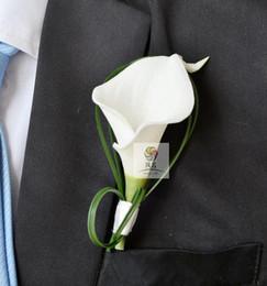 Cala broches de la boda del lirio online-1 PC / lote calla blanca flor Corsage Groomman padrino de boda Traje de novio hombre traje de hombres Boutonniere pin broche Hot Lapel Flower