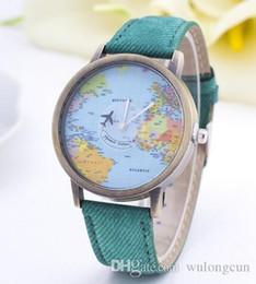Wholesale World Map Watch Men - Women Men Denim Fabric Watch Quartz Relojes Mujer Relogio Feminino World Map Watch By Plane Watches birthday Gift free Shipping