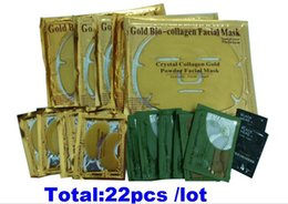 Wholesale Eye Face Mask - Collagen Facial Mask crystal Gold powder collagen face masks Collagen 5pcs eye Mask+5pcs Face mask+2pcsNose mask+10crystal eyelid patch