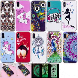 Wholesale Glow Patterns - 10 patterns Luminous unicorn peacock skull Glow In Dark Soft TPU Case For iphone X 8G 7G 6 6S PLUS 5S ipod touch 5 6