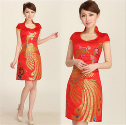 Wholesale Sexy Silk Cheongsam Red - Slim Chinese Cheongsam dress Embroidery print dress The bride wedding toast improved cheongsam brief paragraph The red dress