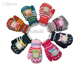 Wholesale Boys Mittens Black - Wholesale-The new winter warm double plus velvet thick child gloves boys and girls cartoon Dairy cow mittens knitted gloves 5 pair lot