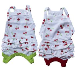 Wholesale Dress For Dogs Red - 2015 spring dog cloth Cotton Cherry pet skirt Pet vest dress Pet dress wholesale Products for mimi animals 3colors colors free shipping