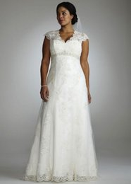 Wholesale Empire Waist Wedding Dresses Beaded - 2015 Plus Size Wedding Dresses A Line Empire Waist Beaded Lace Bridal Dresses V Neck Capped Sleeves Garden Wedding Gowns 2016
