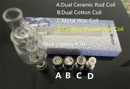 Wholesale Wax Aqua - DHL Aqua bubbler Non-spill glass attachment dual wax Ceramic Coil glass water pipe cloud vaporizer atomizer similar as cloudv aqua bubbler