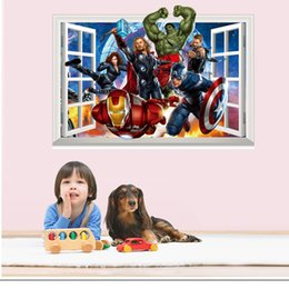 Wholesale People Heroes - The Avengers wall sticker 3D Hero Captain America Iron Man wall covering decoration for Window living rooms Bedroom Boys Favor