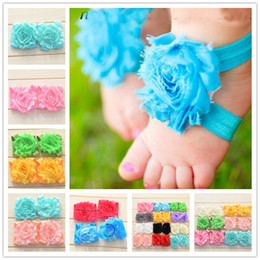 Wholesale Barefoot Lace Sandals - 5pairs Shabby Flower Barefoot Sandals Newborn Baby Shower Gift Summer Infant Toddler Shoes Baby girls feet flower