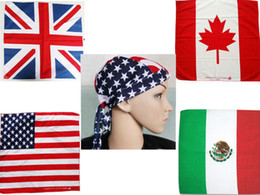 Wholesale Usa Ties - 100%Cotton Hair Bandana Beanie Tie Down Hat Head Wrap USA UK Canada Mexico Flag Scarf,12pcs lot free shipping