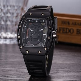 Wholesale quartz head - Casual Fashion Hollow Ghost Head Skeleton Watches men Top Brand Luxury Army Skull sport quartz watch AAA