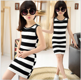 Wholesale Dress Black White Stripes - Big Girls Black White Stripe Dress Retail 2015 Summer Hot Sale Children Sleeveless Vest Dress Childrens Clothes Kids Dress Korean Girl Dress
