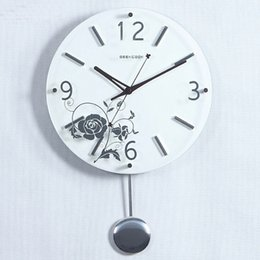 Wholesale Swinging Wall Clock - GEEKCOOK Moon of contracted hanging wooden clock flowers Creative toughened glass wall clock 12 inch Creative household products Swing clock